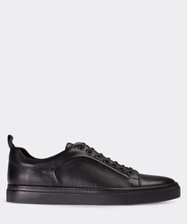 real leather black sneaker man shoe