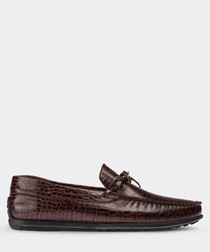 real leather brown loafer man shoe