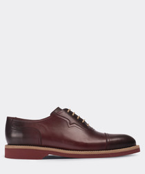 real leather burgundy casual man shoe