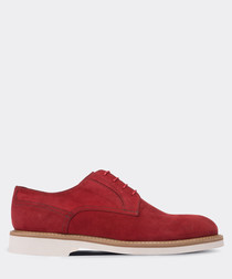 real suede red casual man shoe