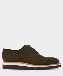 real suede green casual man shoe