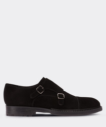 real suede double monk black casual man shoe