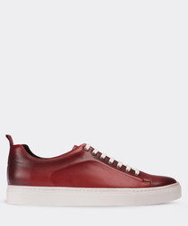 real leather red sneaker man shoe