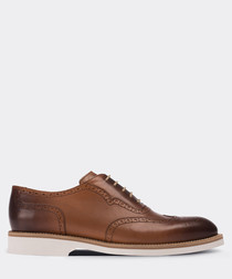 real leather tobacco  oxford man shoe