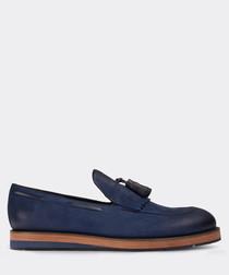 real nubuck blue loafer man shoe