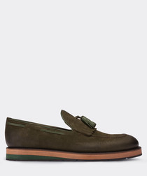 real nubuck green loafer man shoe