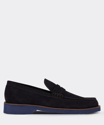 real suede navy loafer man shoe