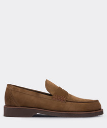 real suede tobacco  loafer man shoe