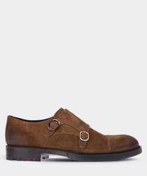 real suede double buckle tobacco  man shoe
