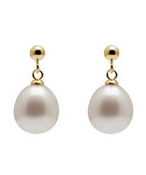1cm pearl & gold-plated earrings