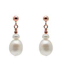 0.6cm pearl & rose gold-plated earrings