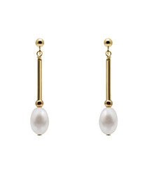 0.7cm pearl & gold-plated earrings