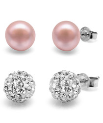 2pc 0.8cm pink pearl & crystal earrings