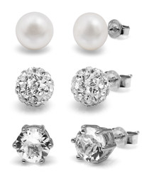 3pc 0.8cm pearl & crystal earrings set