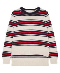 Cream & red cotton split jumper