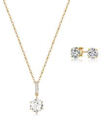 anika Swarovski necklace & studs set