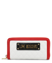 Red & white quilted logo purse