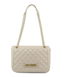 White quilted chain shoulder bag