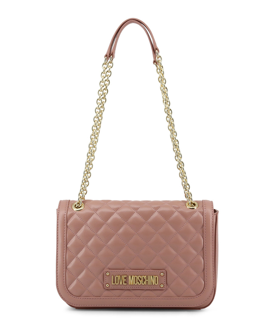Dusty pink quilted chain shoulder bag Sale - love moschino