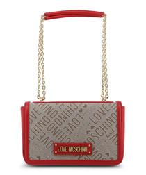 Grey & red chain shoulder bag