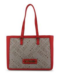 Grey & red logo shoulder bag