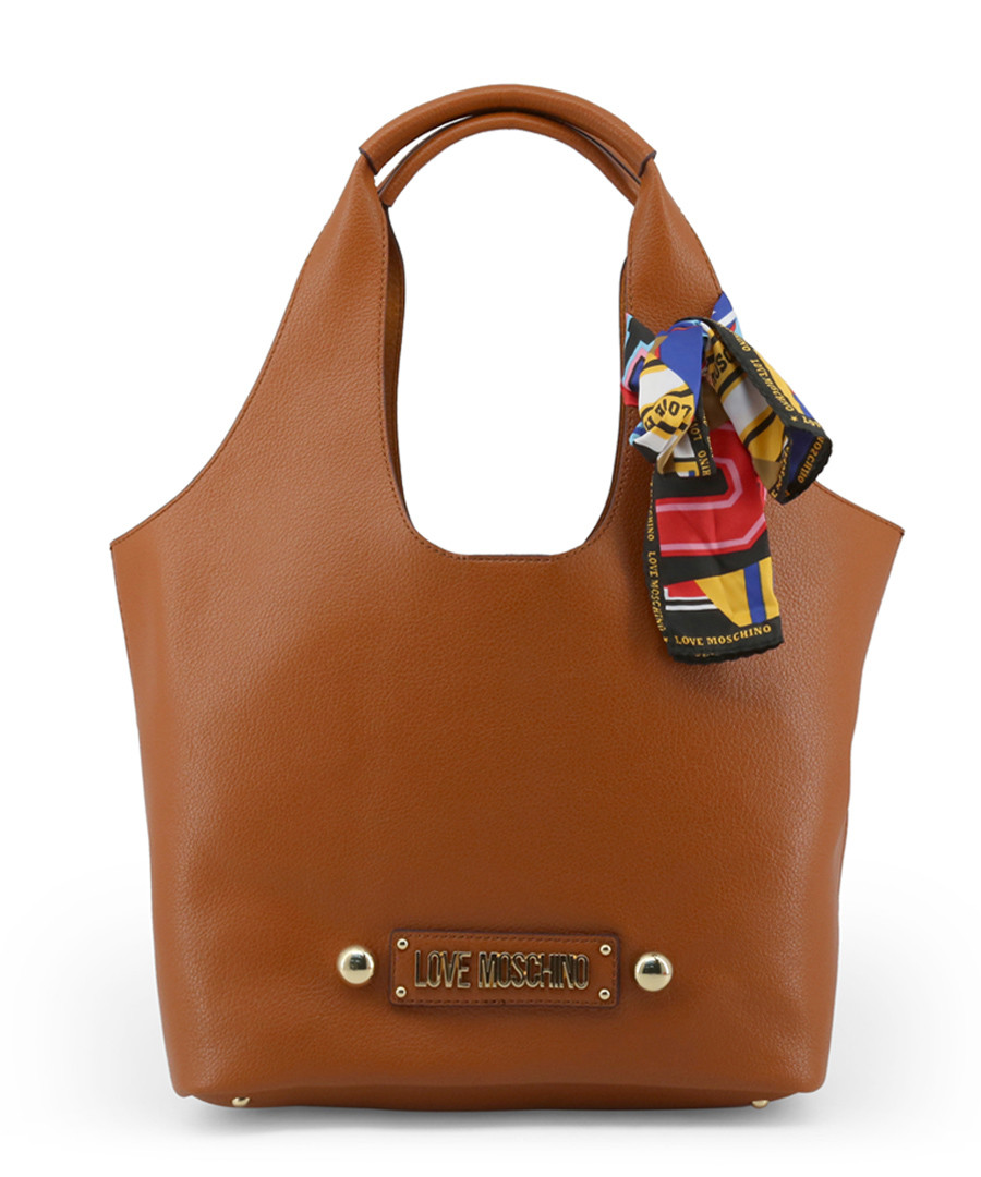 Tan bow shopper bag Sale - love moschino