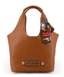 Tan bow shopper bag