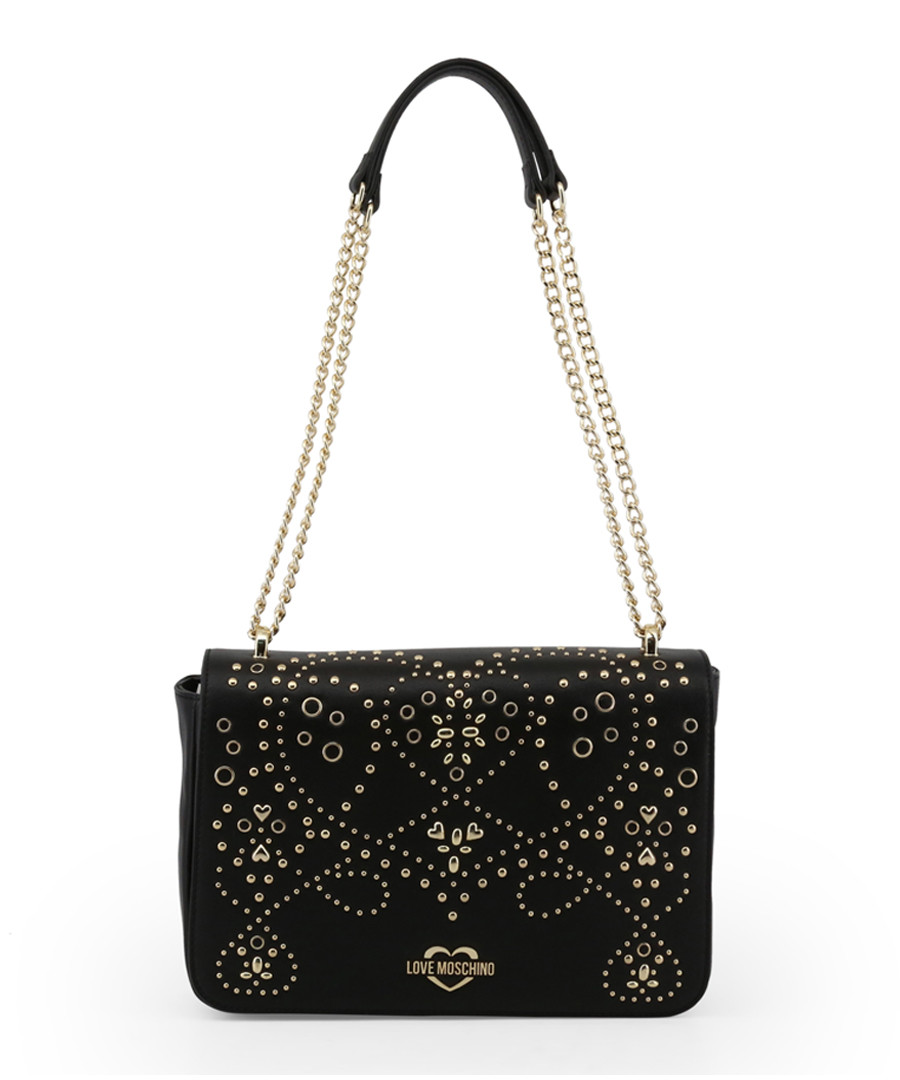 Black embellished chain shoulder bag Sale - love moschino
