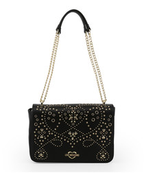Black embellished chain shoulder bag