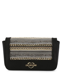 Black crystal & chain crossbody