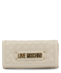 Cream quilted logo crossbody