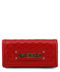 Red quilted logo crossbody