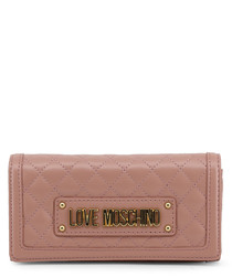Dusty pink quilted logo crossbody
