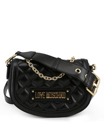 Black quilted semi shoulder bag