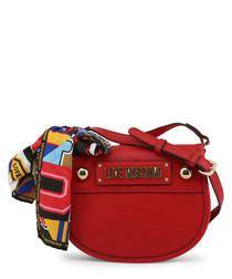 Red bow semi shoulder bag