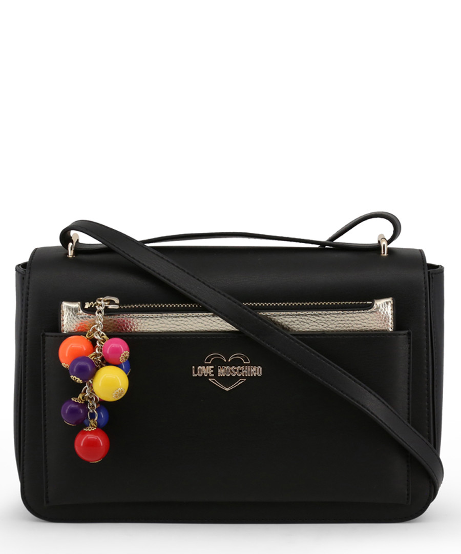 Black pompom zip crossbody Sale - love moschino