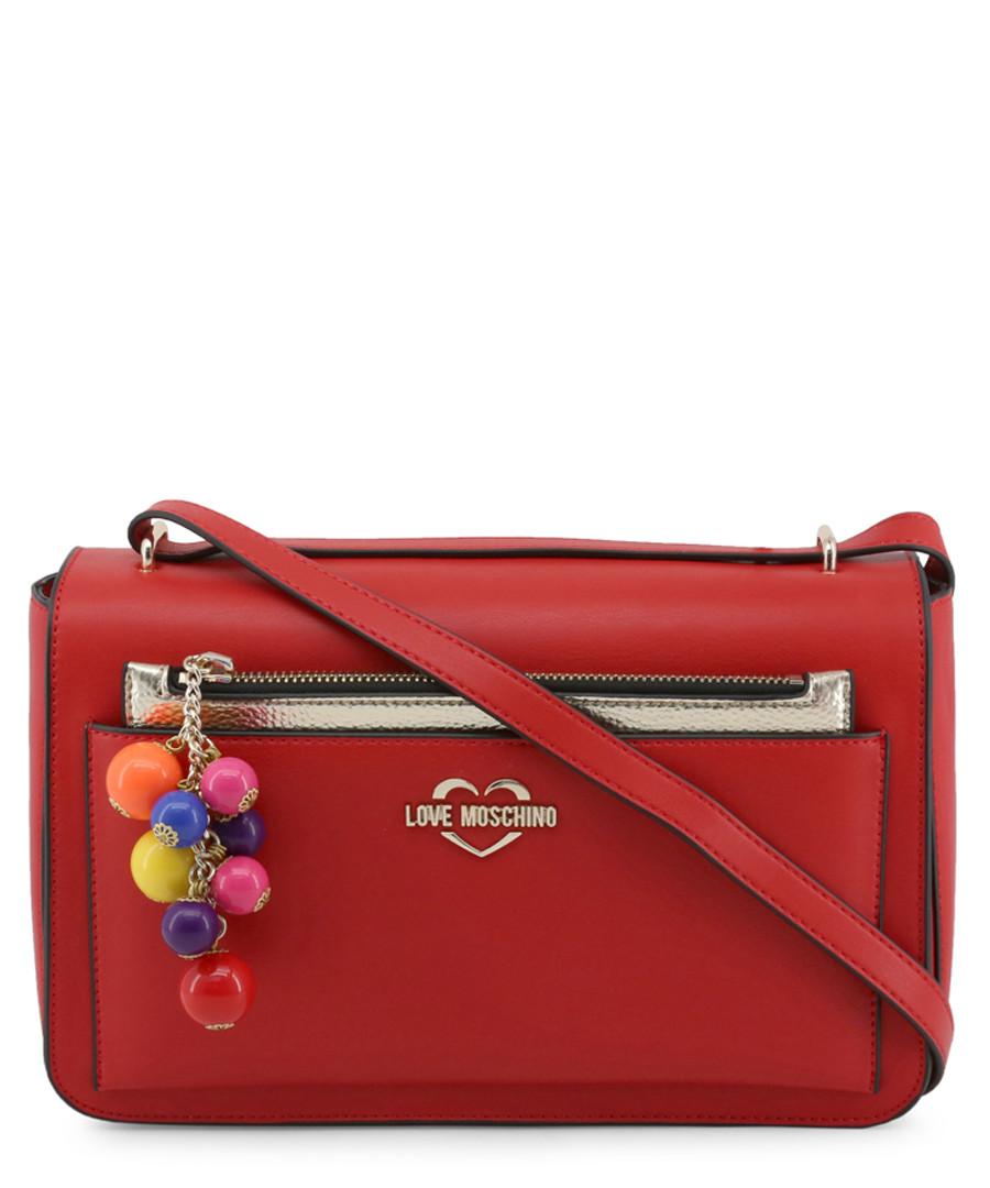 Red pompom zip crossbody Sale - love moschino