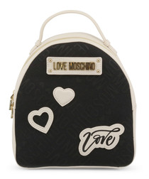 Black & white love patch backpack