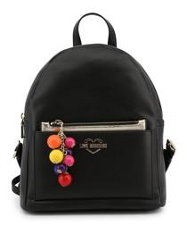 Black pompom zip backpack
