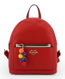 Red pompom zip backpack