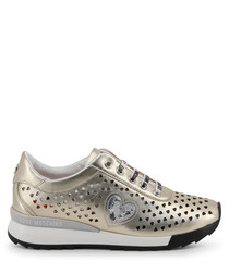 Gold perforated heart sneakers