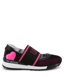 Black & pink perforated strap sneakers