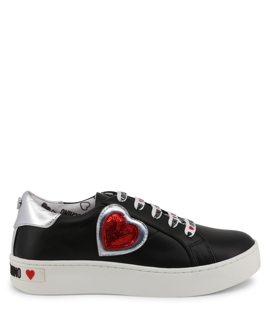 Black, white & red heart sneakers Sale - love moschino