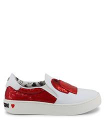 Red sequin slip-on sneakers