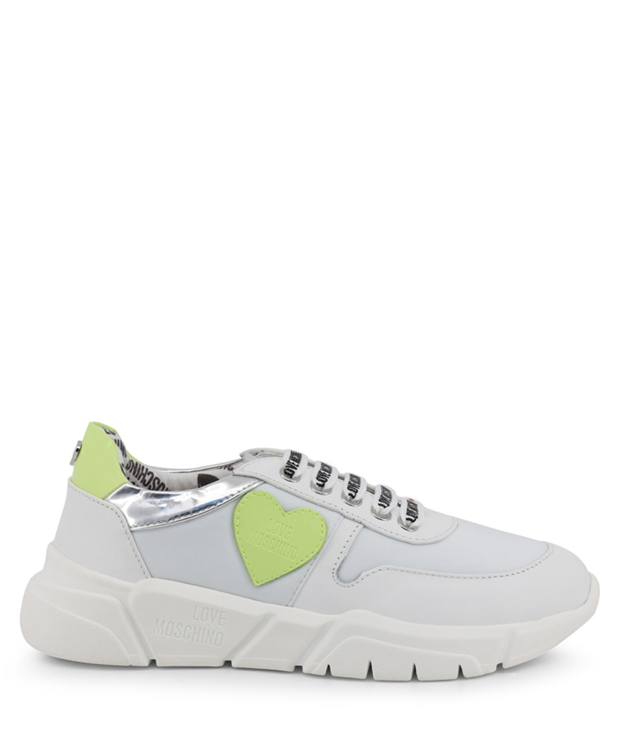 White & lime heart sneakers Sale - Love Moschino