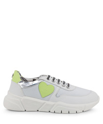 White & lime heart sneakers
