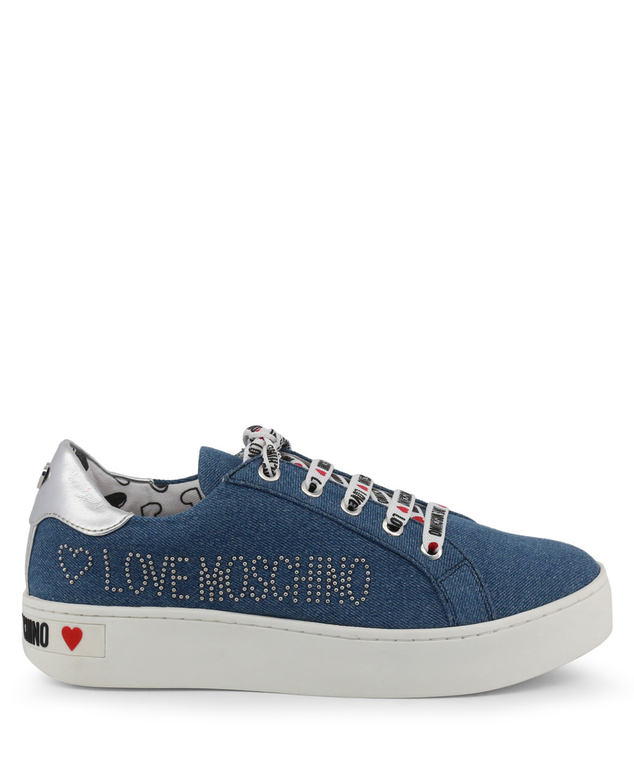 Blue & white studded logo sneakers Sale - love moschino
