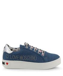 Blue & white studded logo sneakers