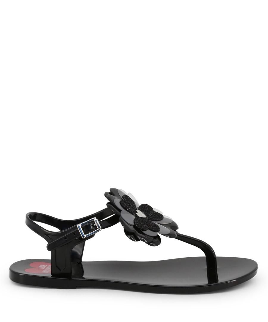 Black flower Y-strap sandals Sale - love moschino