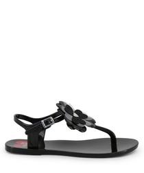 Black flower Y-strap sandals